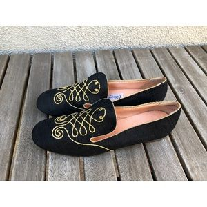 Vintage Black Silk Embroidered Loafers